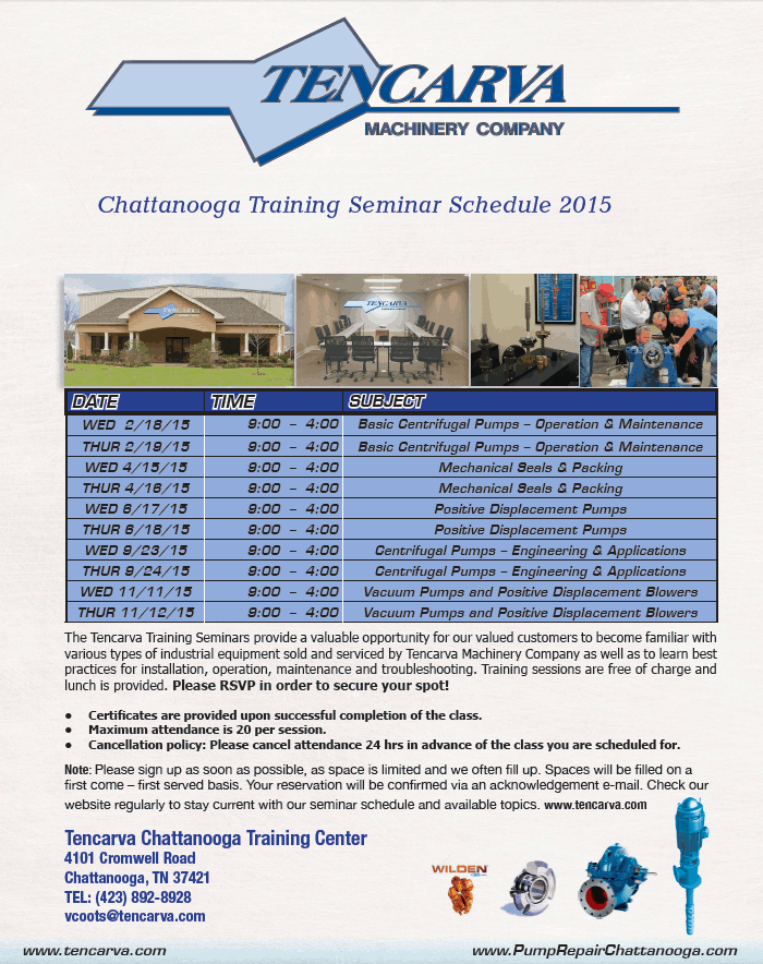 Tencarva Chattanooga Training Center 2015 Schedule